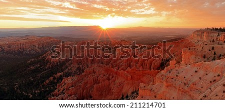 Panoramic sunrise landscape in Bryce Canyon National Park, Utah, USA. - stock photo