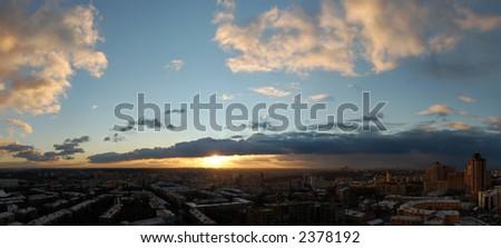 panoramic sunset - stock photo
