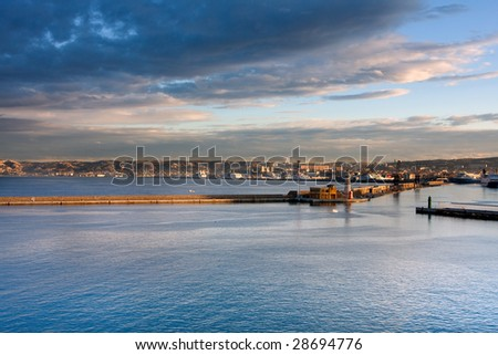 Panoramic sunset in herbor of Marseille France - stock photo