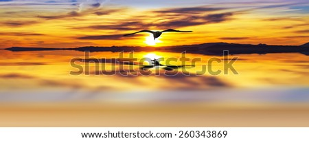 Panoramic sunset sun on the sea - stock photo