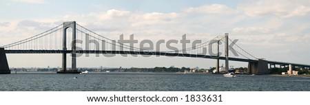 Panoramic - Throgs Neck Bridge - New York - Connecting Queens to the Bronx - stock photo