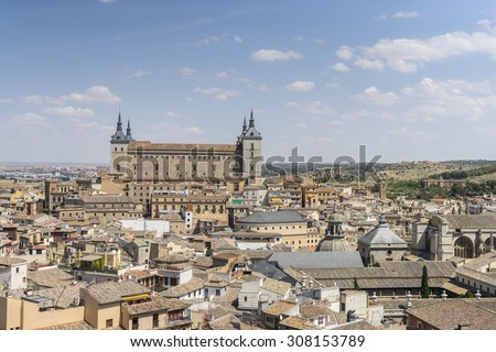 Panoramic, Toledo Alcazar views from a bell tower, fortress of the Spanish Civil War - stock photo