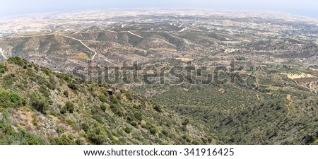 Panoramic top view from mountain on surrounding landscape. Cyprus.