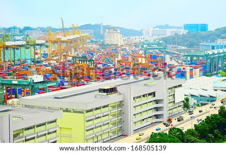 Panoramic top view on Singapore harbor - stock photo