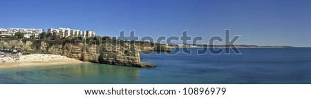 Panoramic view at a bay near Armacao de Pera in the Algarve in Portugal