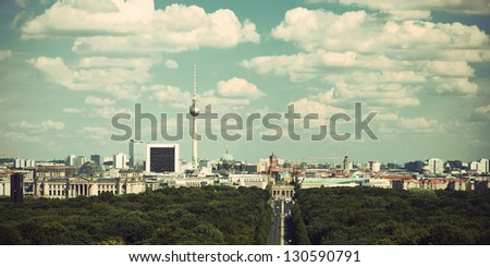 panoramic view at Berlin City Skyline from Tiergarten, vintage style, Germany, Europe, Panoramablick auf Berlin, Deutschland, Europa - stock photo