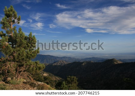 Panoramic view at dusk from a mountain top, California - stock photo