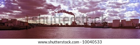 Panoramic view at industrial environment near Amsterdam the Netherlands