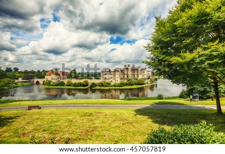 panoramic view at Leeds Castle and park - stock photo