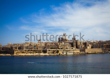 Panoramic view at old city of Valetta, Malta