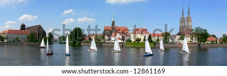 Panoramic view at Ostrow Tumski with sailboats, Wroclaw, Poland - stock photo