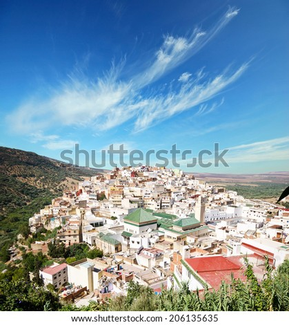 Panoramic view at part of Moulay Idris town
