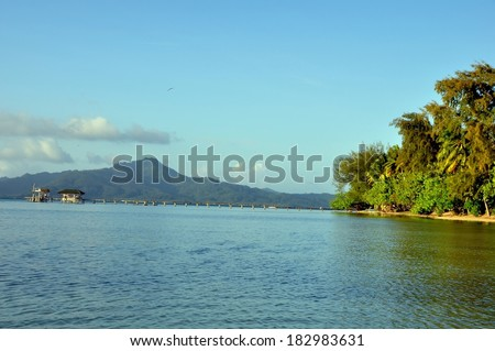 panoramic view at raiatea island, french polynesia. This gorgeous area is known for its tropical beauty and is a favorite vacation destination.