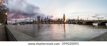 Panoramic view at sunset over Westminster in London, United Kingdom - stock photo
