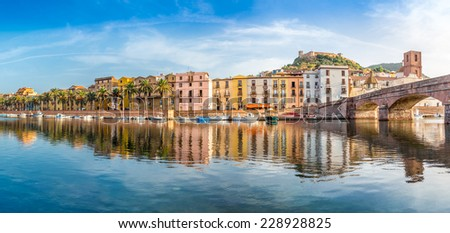 Panoramic view at the Bosa in Sardinia - Italy - stock photo