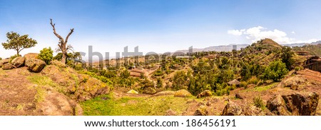 Panoramic view at the Lalibela mountains in Ethiopia . - stock photo