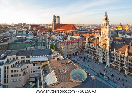 Panoramic view at the Marienplatz and the Frauenkirche, Munich, Germany - stock photo
