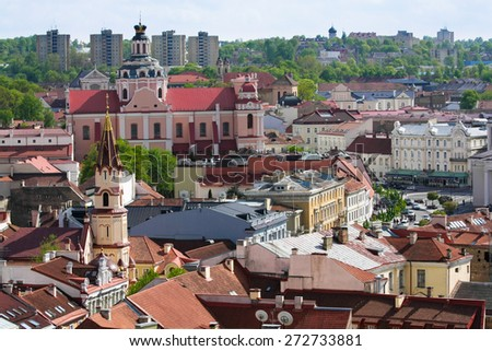 Panoramic view at Uzupis district in Vilnius from University belltower in spring - May 05, 2012, Vilnius, Lithuania