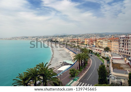 Panoramic view city of Nice in France. Luxury resort of French riviera. - stock photo
