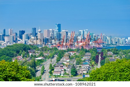 Panoramic view city of Vancouver. Downtown and  Port terminal. - stock photo