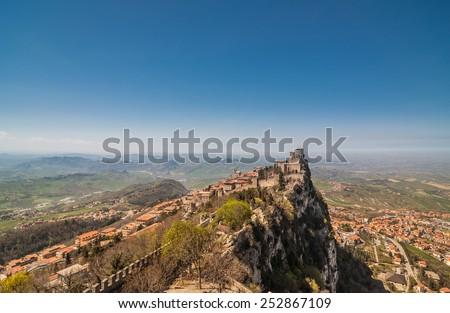 Panoramic view Fortress of Guaita (Rocca della Guaita), castle in San Marino Republic - stock photo