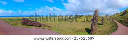 Panoramic View from Ahu Ranu Raku - stock photo