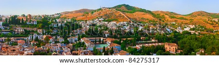 Panoramic view from Alhambra palace - stock photo