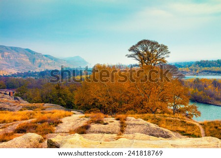 Panoramic view from antique cave city Uplistsikhe, Georgia, Europe. - stock photo