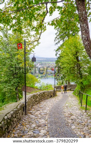 Panoramic view from Bled castle; Bled, Slovenia, Europe. - stock photo