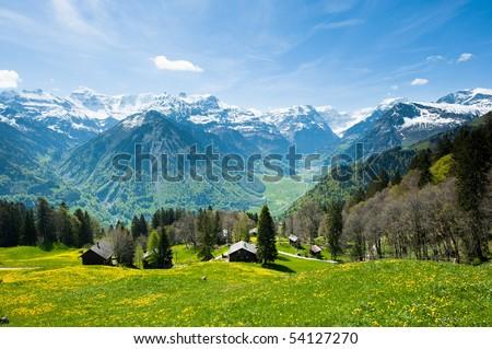 Panoramic view from Braunwald in Spring, Glarus, Switzerland - stock photo