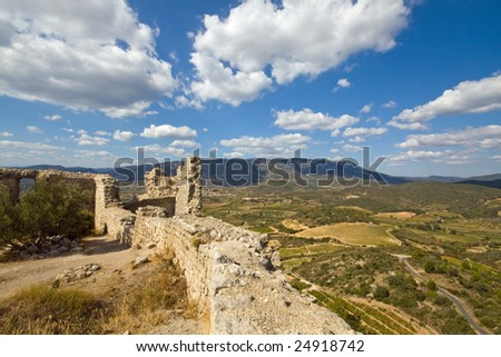 panoramic view from Chateau Aguilar, south france, in the champaign of the Languedoc