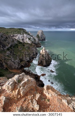 Panoramic view from cliff - stock photo