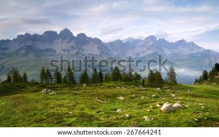 panoramic view from Dolomiti Italy - stock photo