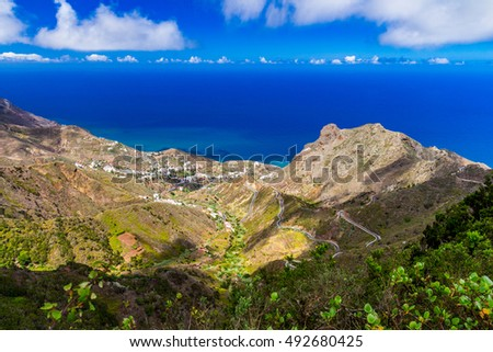 Panoramic view from El Bailadero Mountain. Tenerife, Spain