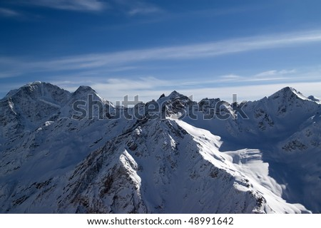 Panoramic view from Elbrus. Caucasus Mountains.