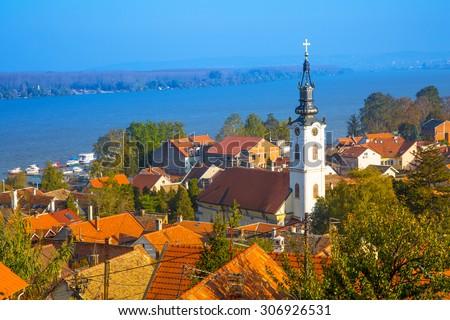 panoramic view from Gardos, Zemun, with Saint Nicholas church, Belgrade, Republic of Serbia. - stock photo