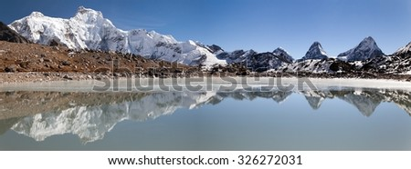 Panoramic view from gokyo valley near mount Cho Oyu base camp, Mount Everest area, Khumbu valley, Nepal