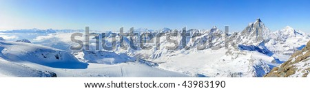 Panoramic view from kl. Matterhorn over Mont Blanc and Matterhorn, Zermatt, Switzerland - stock photo