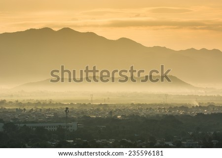 Panoramic view from mandalay hills in early morning  Myanmar