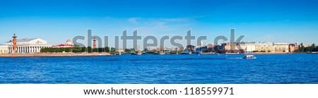 Panoramic view from Neva river. Saint Petersburg, Russia - stock photo
