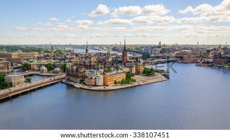 Panoramic view from observation deck on tower City Hall to Gamla Stan (Old Town), Stockholm, Sweden