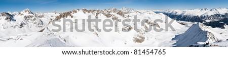 panoramic view from Piz Nair (3057m) mountain above St. Moritz, Switzerland - stock photo