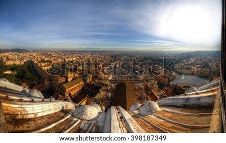 Panoramic view from Saint Peter's Basilica (North), Rome, Italy, January, 2014 - stock photo