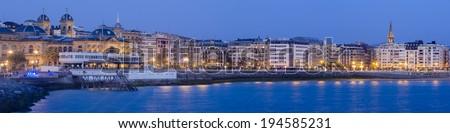 panoramic view from the city of Donostia - San Sebastian at night, - stock photo