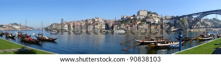 Panoramic view from the city of Porto in Portugal.