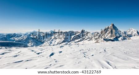panoramic view from the glacier at kl. matterhorn with matterhorn and mont blanc, zermatt, switzerland - stock photo
