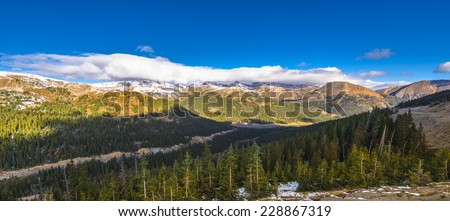 Panoramic View from the Loveland Pass Colorado - stock photo