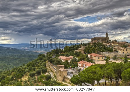 Panoramic view from the Medieval town of Montalcino (UNESCO World Heritage Site), Tuscany, Italy - stock photo