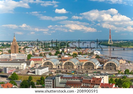 Panoramic view from the Saint Peter cathedral on the center of Riga, Latvia - stock photo