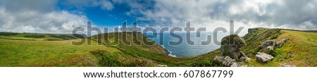 Panoramic view from The South West Coast Path near Hope Cove, Bolberry and Cop Soar, Devon, England, UK